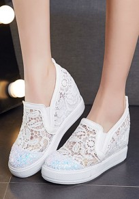 White Heavy-Soled Within The Higher Grenadine Patchwork Casual Shoes