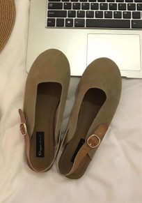 Apricot Round Toe Buckle Casual Flat Shoes
