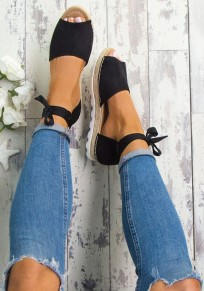 Black Piscine Mouth Cross Strap Casual Flat Sandals