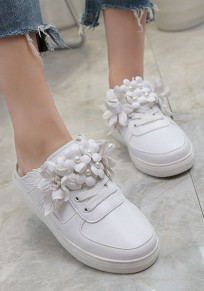 White Round Toe Flat Flower Patchwork Casual Slippers