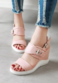Pink Round Toe Wedges Buckle Casual Sandals