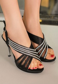 Black Round Toe Stiletto Rhinestone Buckle Casual High-Heeled Sandals
