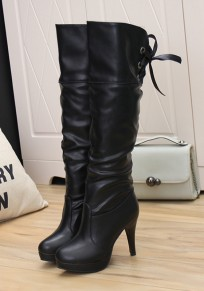 Black Round Toe Stiletto Lace-up Fashion Knee-High Boots