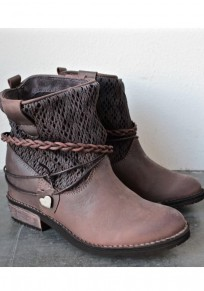 Brown Round Toe Flat Rivet Buckle Fashion Ankle Boots