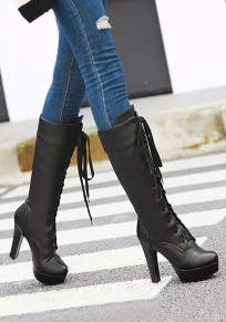 Black Round Toe Chunky Lace-up Fashion Mid-Calf Boots