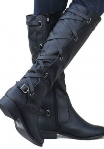 Black Round Toe Chunky Buckle Fashion Mid-Calf Boots