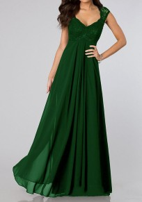 Green Patchwork Pleated Scoop Neck Elegant Chiffon Maxi Dress