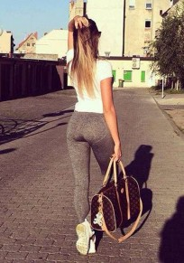 Szare Plain Push Up High Waisted Silm Stretch Casual Sports Legging