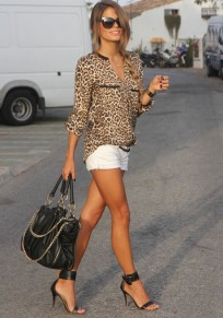Multicolor Leopard Pockets Long Sleeve Wrap Polyester Blouse