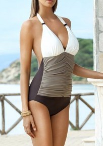 White Patchwork Pleated Halter Neck Open Back Deep V-neck Sexy Swimwear