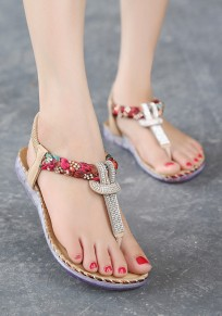 Apricot Round Toe Flat Rhinestone Floral Print Buckle Casual Sandals