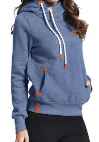 Blue Plain Badge Drawstring Cowl Neck Vogue Hooded Casual Pullover Sweatshirt