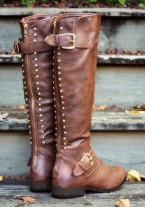 Brown Round Toe Chunky Rivet Fashion Mid-Calf Boots
