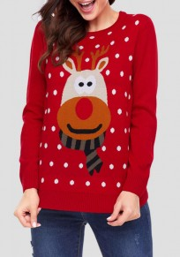 Red Floral Deer Round Neck Long Sleeve Cute Christmas Pullover Sweater