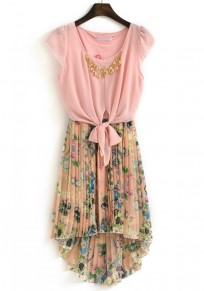 Pink Patchwork Floral False 2-in-1 Bow Chiffon Dress