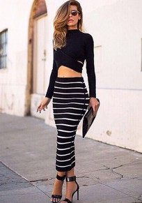 Black Striped 2-in-1 Crop Sexy Dress