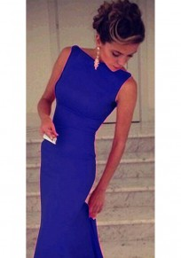 Dark Blue Plain Boat Neck Sleeveless Dress