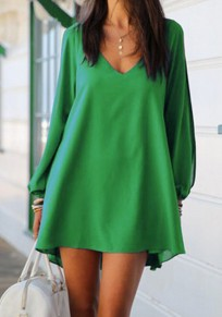 Green Plain Irregular Draped Plunging Neckline Long Sleeve Mini Dress