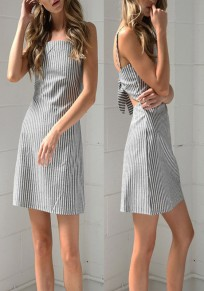 Black-White Striped Bowknot Backless Spaghetti Strap Square Neck A-line Cute Mini Dress