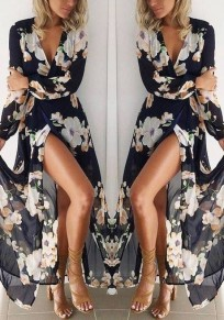 Black Floral Plunging Neckline Long Sleeve Bohemian Maxi Dress
