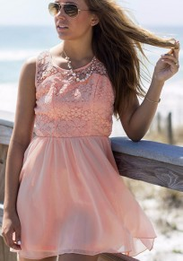 Pink Patchwork Hollow-out Cross Back Round Neck Sleeveless Mini Dress