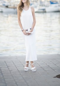 White Draped Condole Belt Round Neck Sleeveless Maxi Dress