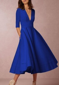 Blue Ruffle Pleated Zipper Plus Size Elbow Sleeve Homecoming Party Elegant Maxi Dress