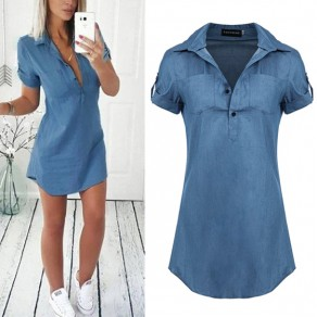 Blue Pockets Turndown Collar Short Sleeve Casual Mini Dress