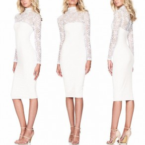 White Patchwork Lace Draped Elegant Bodycon Bridesmaid Party Long Sleeve Midi Dress