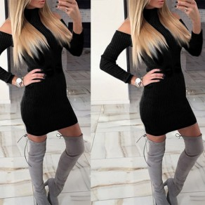 Black Cut Out Draped Band Collar Long Sleeve Mini Dress