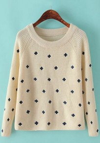 Beige Floral Embroidery Pullover