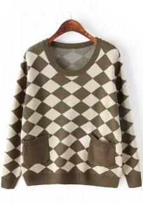 Army Green Geometric Pockets Pullover