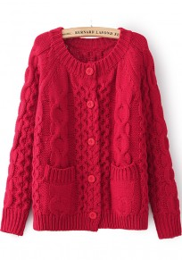 Red Patchwork Pockets Long Sleeve Sweater