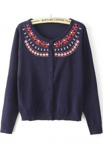 Navy Blue Geometric Embroidery Long Sleeve Cardigan