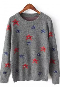 Grey Stars Print Sequin Long Sleeve Sweater