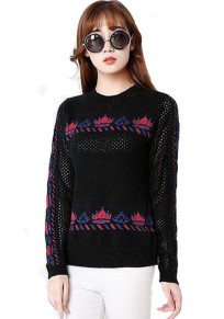 Black Floral Hollow-out Pullover