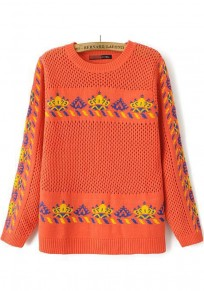 Orange Floral Hollow-out Pullover