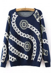 Blue Print Long Sleeve Pullover