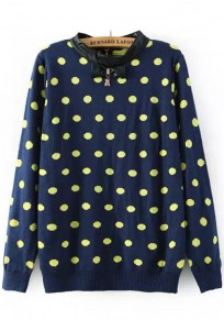 Blue-Yellow Polka Dot PU Leather Pullover