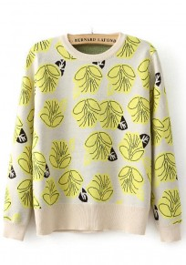 Beige-Yellow Floral Print Pullover