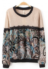 Blue Floral Print Patchwork Lace Pullover