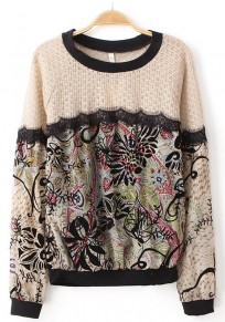 Red Floral Print Patchwork Lace Pullover