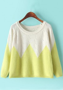 Yellow Rhombus Print Hollow-out Pullover
