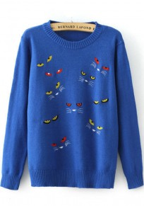 Light Blue Cat's Eyes Embroidery Pullover