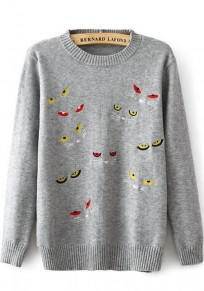Grey Cat's Eyes Embroidery Pullover