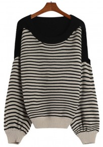 Black Striped Hollow-out Pullover