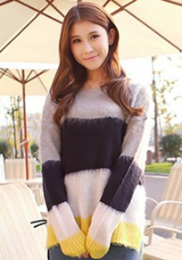 Multicolor Patchwork Sweet Pullover Sweater