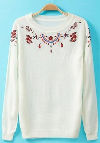 White Floral Embroidery Knit Pullover