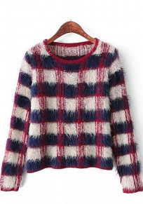 Blue-Red Plaid Print Long Sleeve Sweater