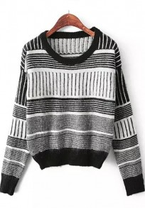 Black Striped Print Long Sleeve Sweater